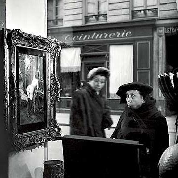 These images are from iconic french photographer robert doisneau amongst the photographs is the famous series of the nude painting in the art shop window
