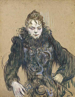 Henri de Toulouse-Lautrec. Woman with Black Boa. Oil on Card. 1892